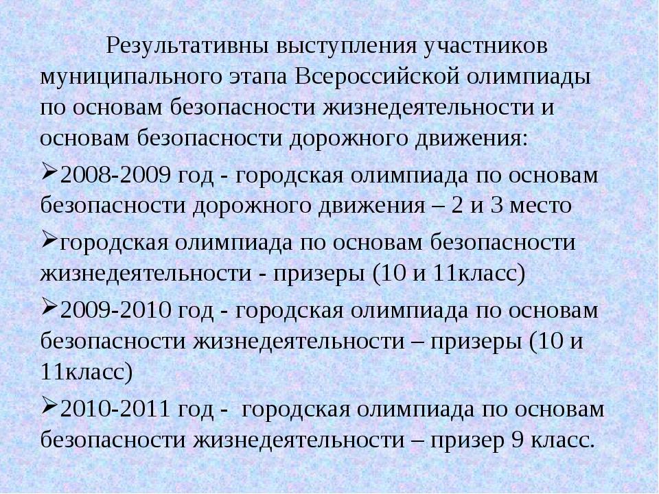 Результативны выступления участников муниципального этапа Всероссийской олим...