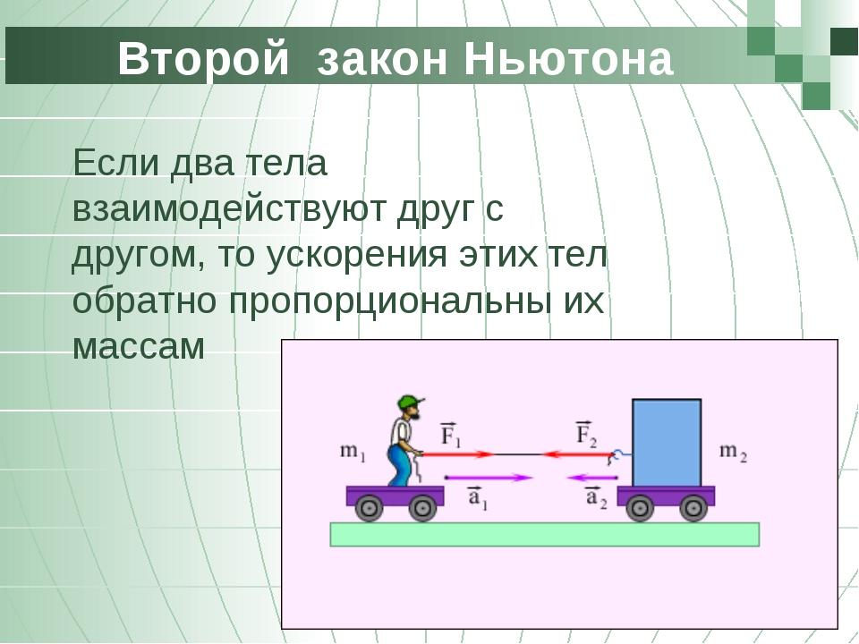 Второй закон Ньютона Если два тела взаимодействуют друг с другом, то ускорен...