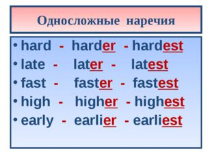 Односложные наречия hard - harder - hardest late - later - latest fast - fast