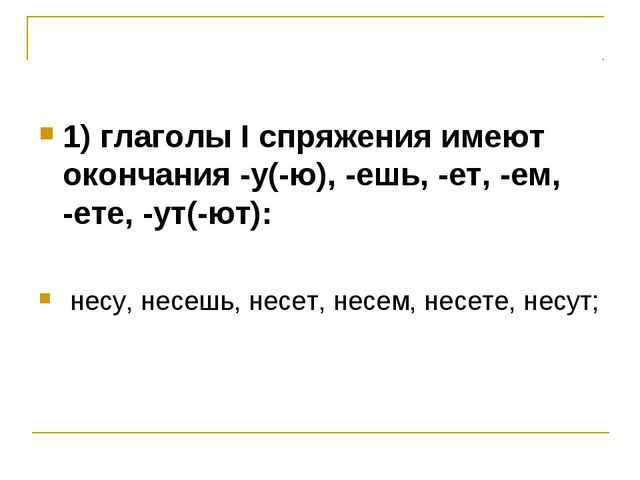 1) глаголы I спряжения имеют окончания -у(-ю), -ешь, -ет, -ем, -ете, -ут(-ют)...