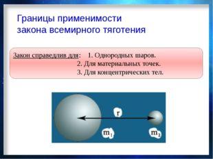 Границы применимости закона всемирного тяготения Закон справедлив для:1. Одн