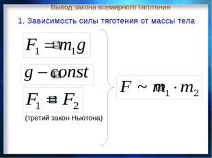 Вывод закона всемирного тяготения (третий закон Ньютона) 1. Зависимость силы