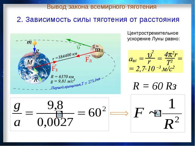 Центростремительное ускорение Луны равно: R = 60 Rз 2. Зависимость силы тягот...