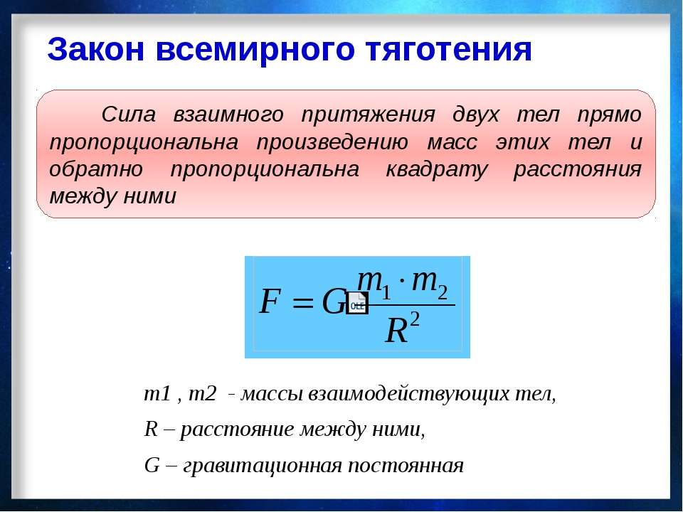 Закон всемирного тяготения m1 , m2 - массы взаимодействующих тел, R – расстоя...