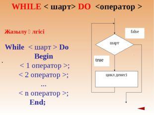 WHILЕ < шарт> DO  . Жазылу үлгісі Whіle < шарт > Do Begіn  < 1 оператор >;