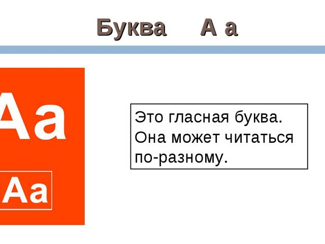 Буква А а Это гласная буква. Она может читаться по-разному.