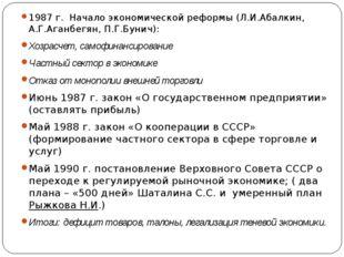 1987 г. Начало экономической реформы (Л.И.Абалкин, А.Г.Аганбегян, П.Г.Бунич):
