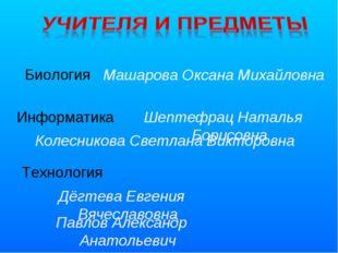 Биология Информатика Технология Машарова Оксана Михайловна Колесникова Светла