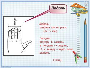 Ладонь – ширина кисти руки. ( 6 – 7 см.) Загадка: Поутру- в сажень, в полдень
