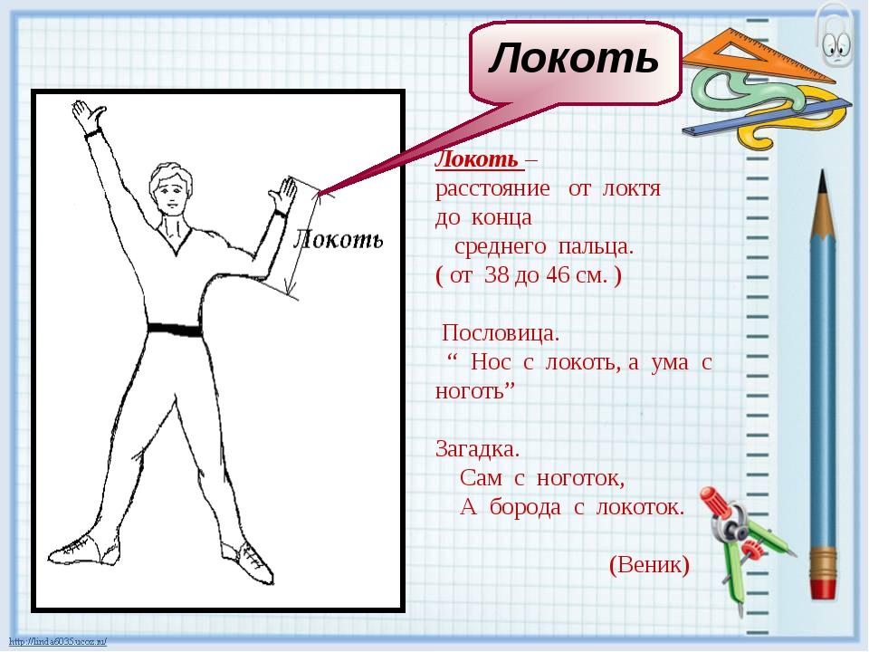Локоть – расстояние от локтя до конца среднего пальца. ( от 38 до 46 см. ) По...