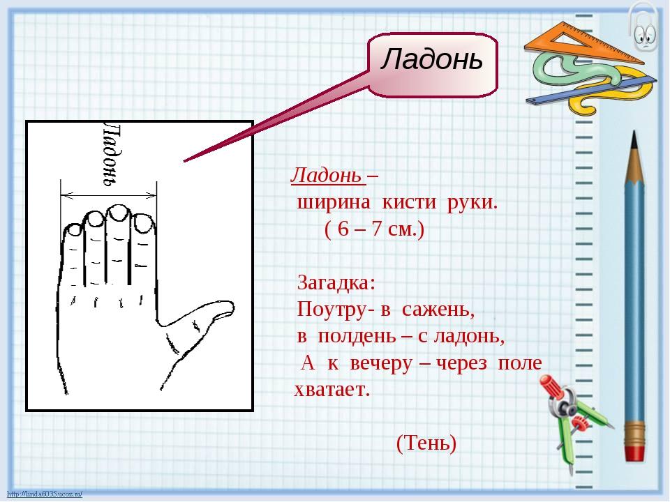 Ладонь – ширина кисти руки. ( 6 – 7 см.) Загадка: Поутру- в сажень, в полдень...