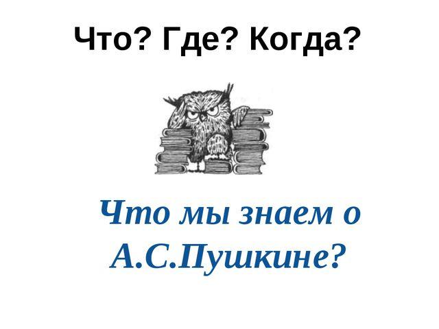 Что? Где? Когда? Что мы знаем о А.С.Пушкине?