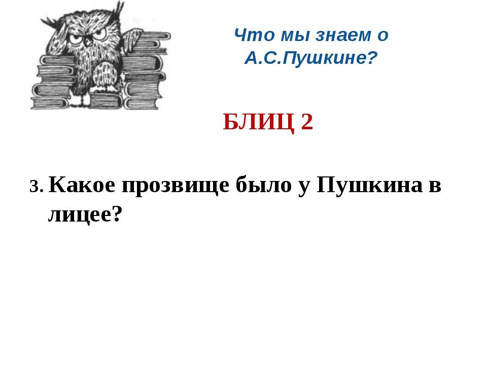 Что мы знаем о А.С.Пушкине? БЛИЦ 2 3. Какое прозвище было у Пушкина в лицее...