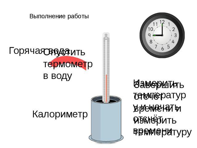 Выполнение работы Горячая вода Калориметр Опустить термометр в воду Измерить...