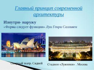 Главный принцип современной архитектуры Оперный театр. Сидней Изнутри- наружу