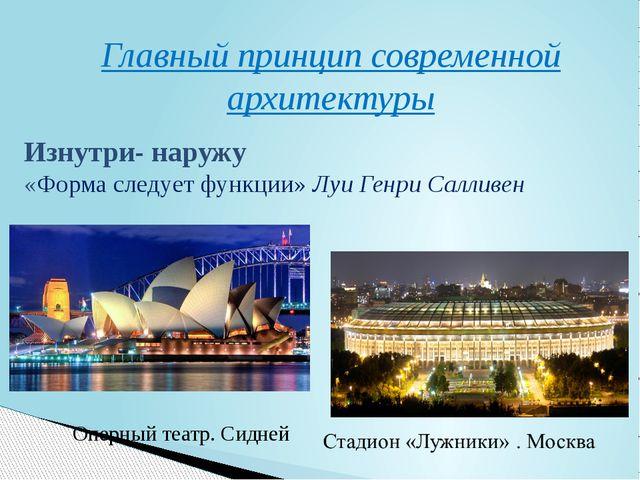 Главный принцип современной архитектуры Оперный театр. Сидней Изнутри- наружу...