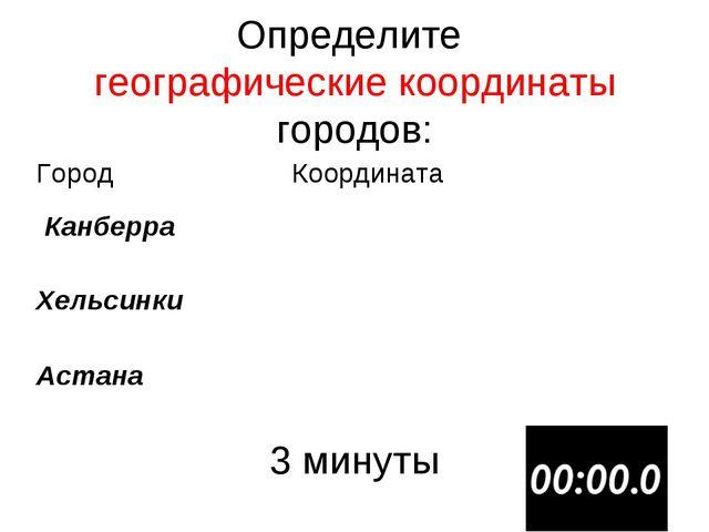 Определите географические координаты городов: 3 минуты ГородКоордината Канб...