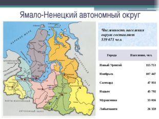 Ямало-Ненецкий автономный округ Численность населения округа составляет 539 6