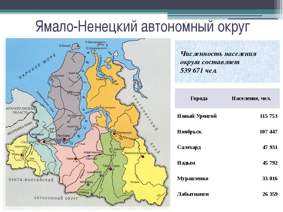 Ямало-Ненецкий автономный округ Численность населения округа составляет 539 6...