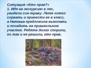Ситуация «Кто прав?» 1. Идя на экскурсию в лес, увидели сон-траву. Петя хотел