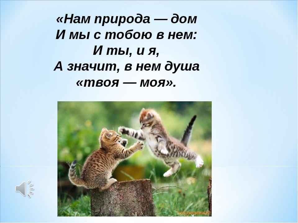 «Нам природа — дом И мы с тобою в нем: И ты, и я, А значит, в нем душа «твоя...