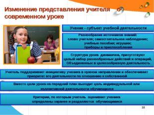 * Изменение представления учителя о современном уроке