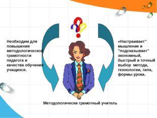 Необходим для повышения методологической грамотности педагога и качества обуч