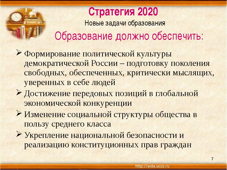 Стратегия 2020 Новые задачи образования Образование должно обеспечить: Форми...