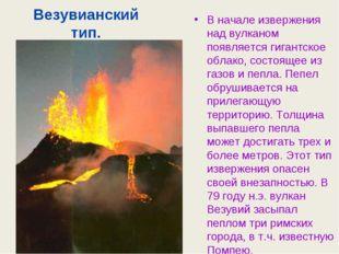Везувианский тип. В начале извержения над вулканом появляется гигантское обла