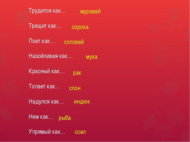 Трудится как… Трещит как… Поет как… Назойливая как… Красный как… Топает как…...