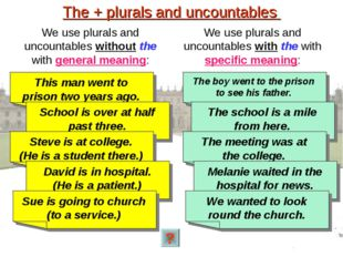 The + plurals and uncountables We use plurals and uncountables without the wi