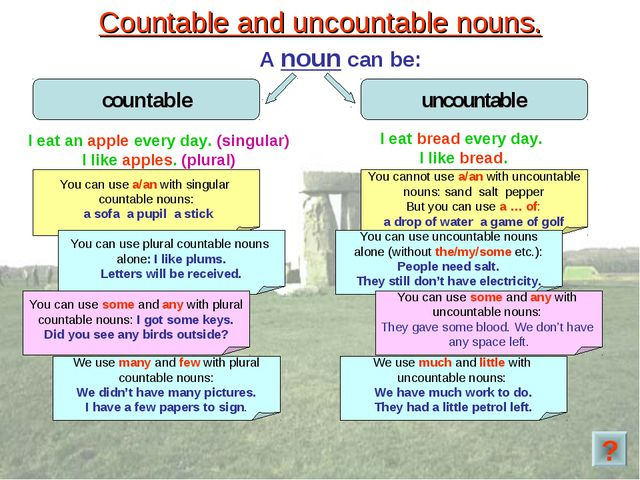 Countable and uncountable nouns. A noun can be: You can use a/an with singula...