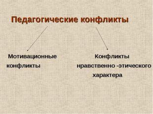 Педагогические конфликты Мотивационные Конфликты конфликты нравственно -этич