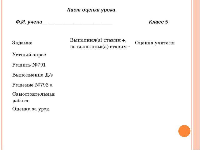 Лист оценки урока Ф.И. учени__ _______________________ Класс 5 Задание Выполн...
