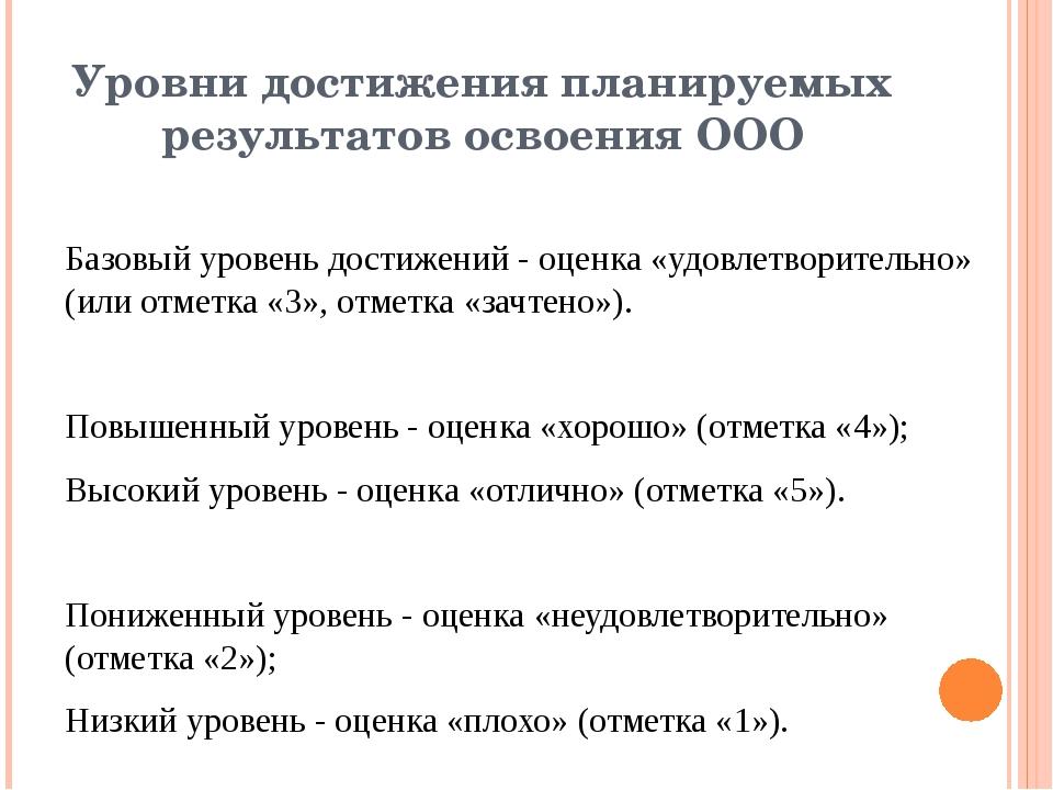 Уровни достижения планируемых результатов освоения ООО Базовый уровень достиж...