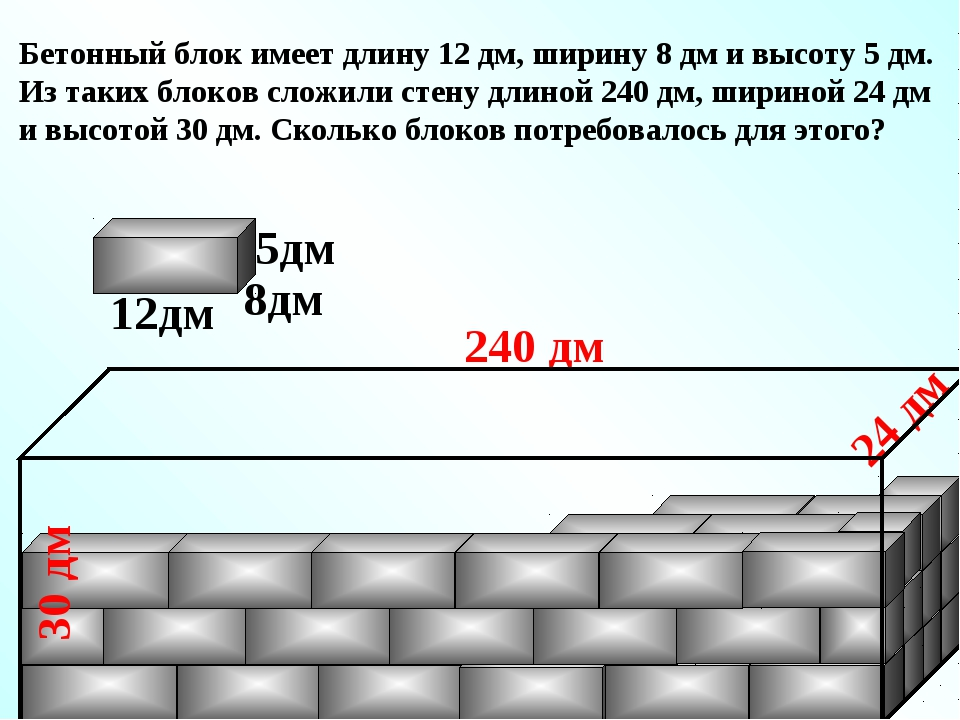 Бетонный блок имеет длину 12 дм, ширину 8 дм и высоту 5 дм. Из таких блоков с...