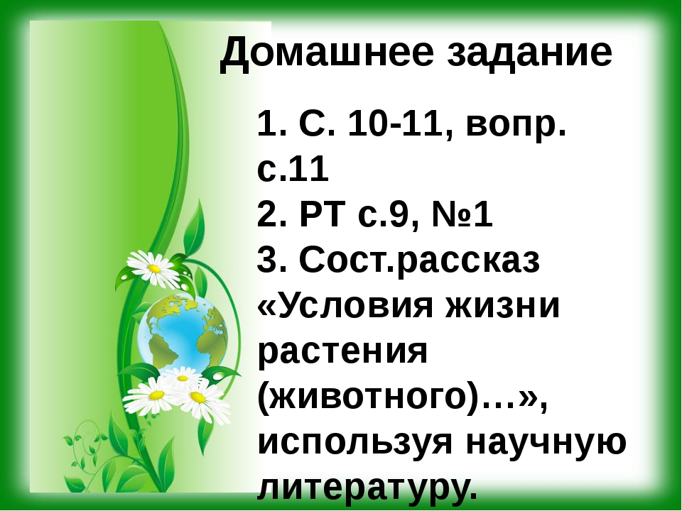 Домашнее задание 1. С. 10-11, вопр. с.11 2. РТ с.9, №1 3. Сост.рассказ «Услов...