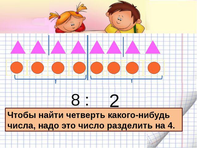 8 : 4= 2 Чтобы найти четверть какого-нибудь числа, надо это число разделить...