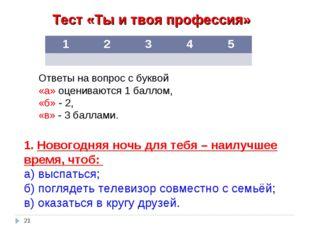 Тест «Ты и твоя профессия» Ответы на вопрос с буквой «а» оцениваются 1 баллом