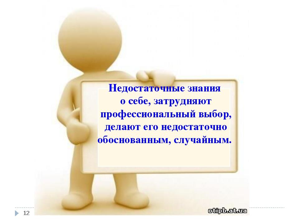 Недостаточные знания о себе, затрудняют профессиональный выбор, делают его не...