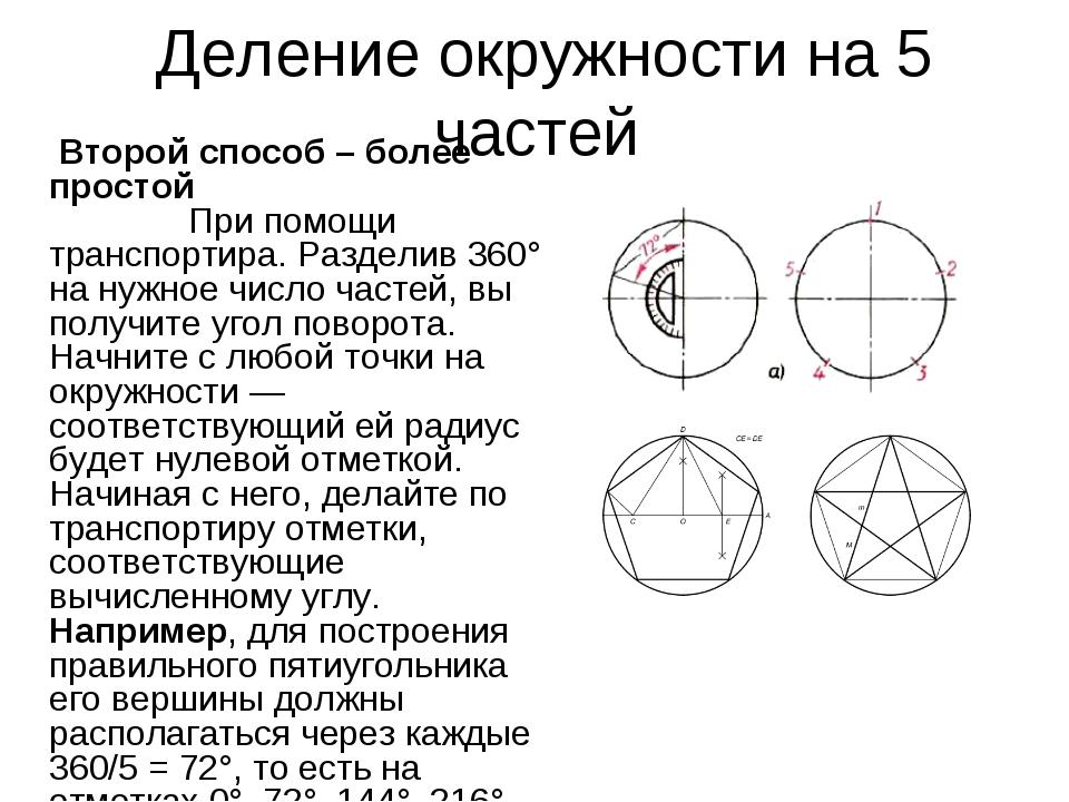 Деление окружности на 5 частей Второй способ – более простой При помощи тран...