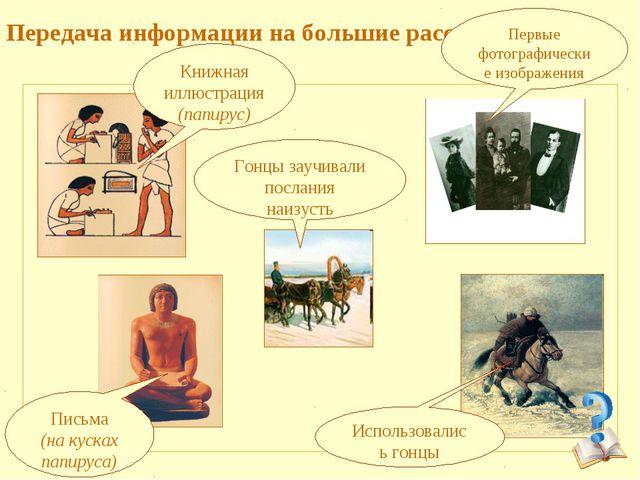 Передача информации на большие расстояния: Книжная иллюстрация (папирус) Пис...