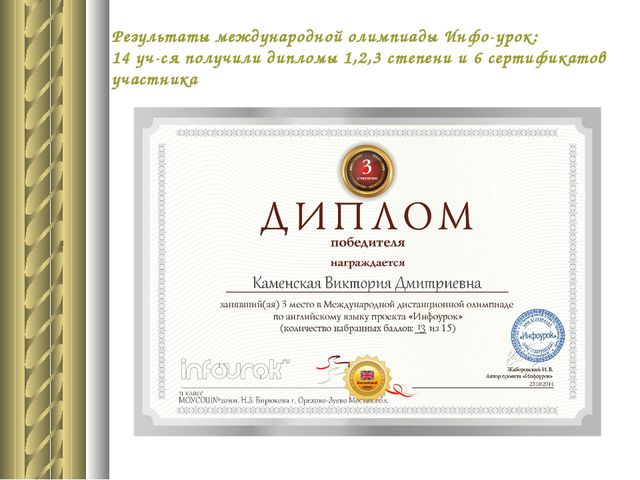 Результаты международной олимпиады Инфо-урок: 14 уч-ся получили дипломы 1,2,3...