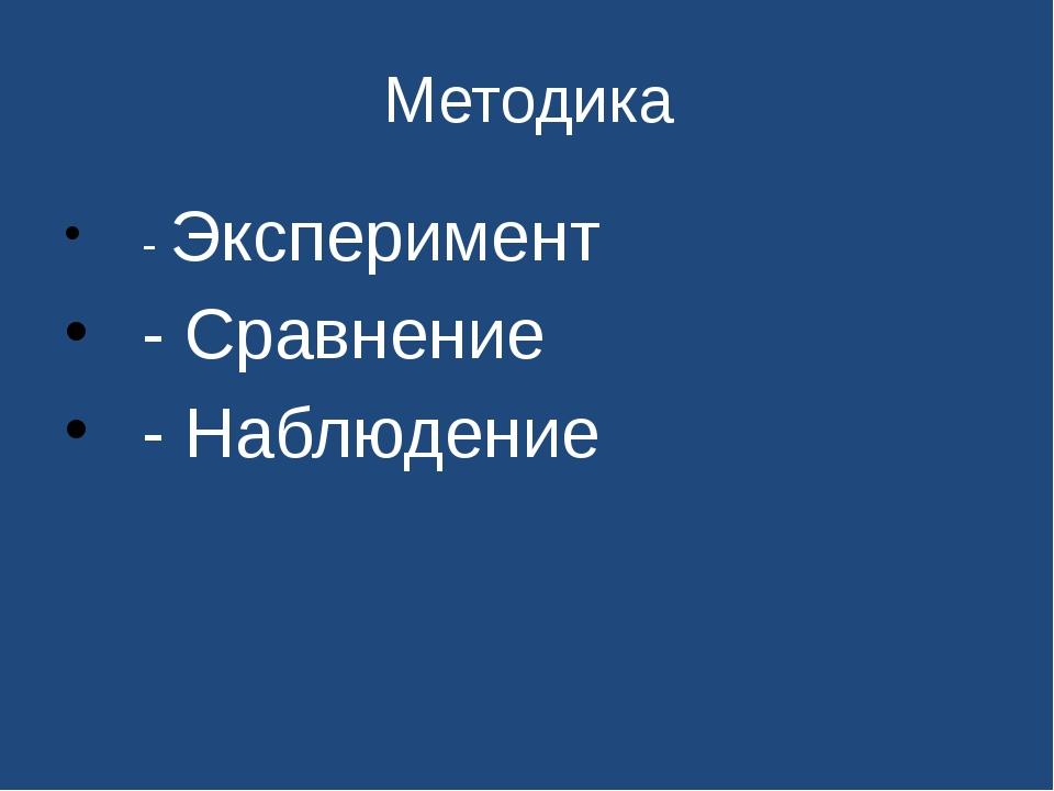 Методика - Эксперимент - Сравнение - Наблюдение