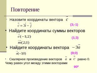 Повторение Назовите координаты вектора (3;-1) Найдите координаты суммы вектор