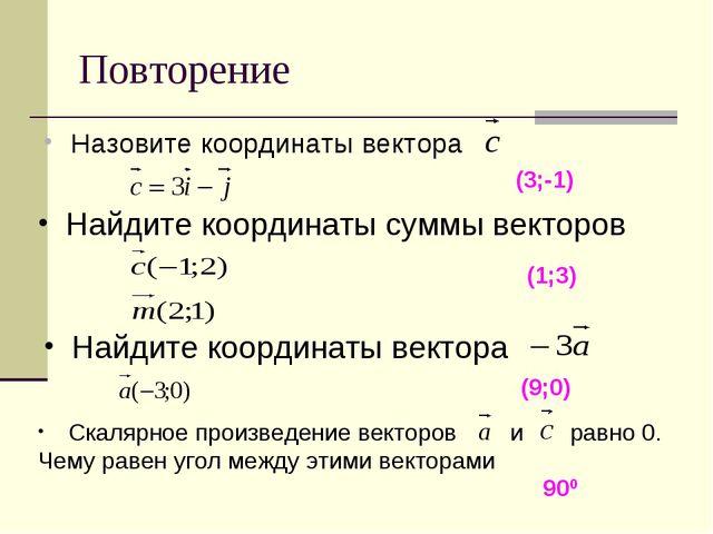 Повторение Назовите координаты вектора (3;-1) Найдите координаты суммы вектор...