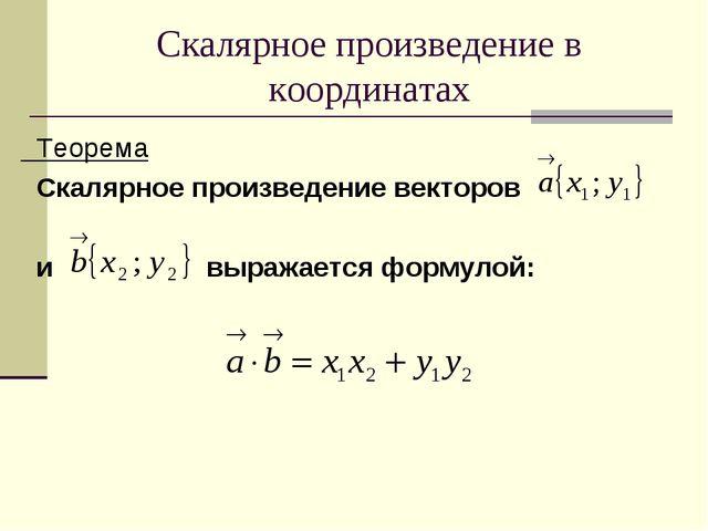 Скалярное произведение в координатах Теорема Скалярное произведение векторов...