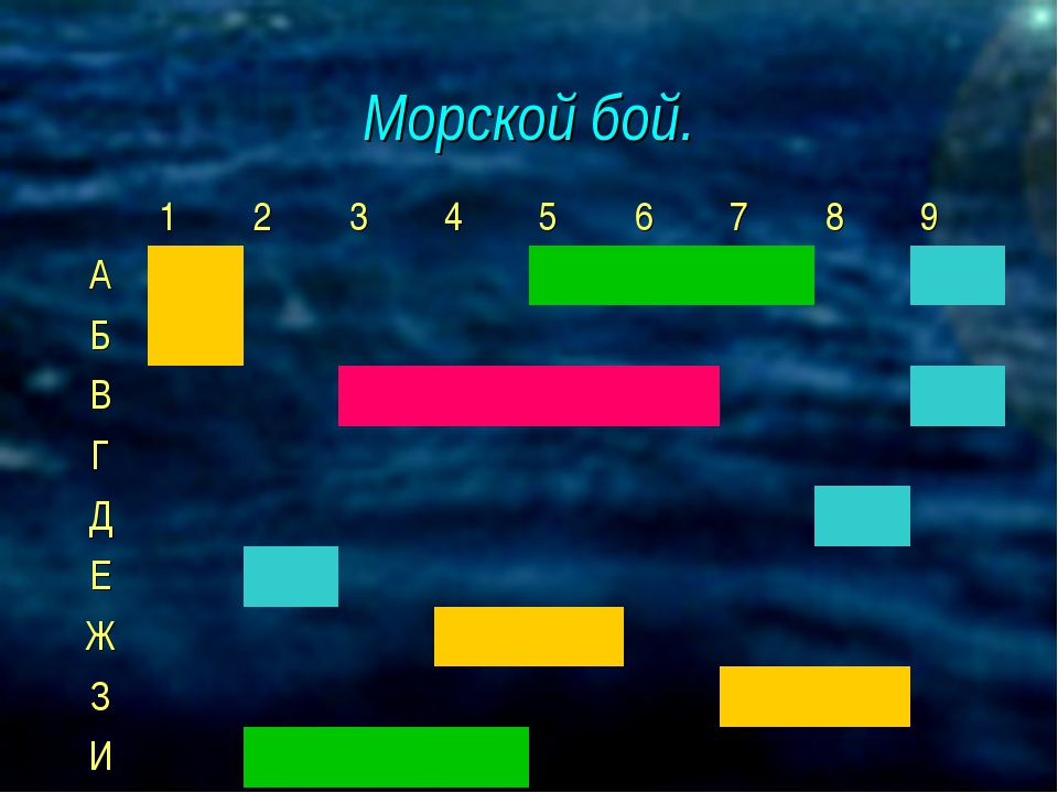 Морской бой. 123456789 А Б В Г Д...
