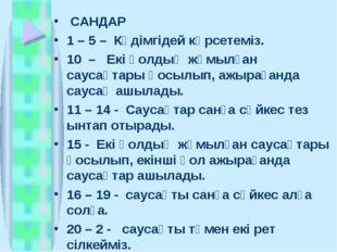 САНДАР 1 – 5 – Кәдімгідей көрсетеміз. 10 – Екі қолдың жұмылған саусақтары қо