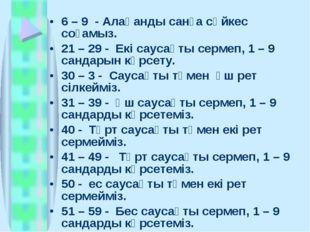 6 – 9 - Алақанды санға сәйкес соғамыз. 21 – 29 - Екі саусақты сермеп, 1 – 9 с